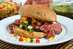 Chimichurri Steak Sandwiches with Roasted Corn and Red Pepper Salsa