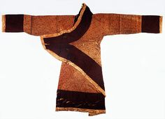 """Damask Gown with """"Xin Qi"""" Embroidery  Western Han Dynasty (206 BC—25 AD)  Length of the Gown: 155cm; Overall Length of Sleeves: 243cm  Excavated from Han Tomb 1 at Mawangdui"""