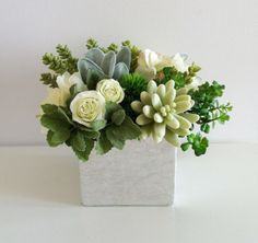 ON SALE Spring Floral Arrangement White Green by ArtsFloralDesign, $66.00
