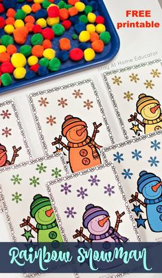 Looking for some snowman activities to add to your winter theme preschool lesson plans? Grab your FREE snowman printable. Teach color sorting and fine motor activities. For toddlers and preschoolers. Find five different variations of this win Toddlers And Preschoolers, Winter Activities For Toddlers, Preschool Color Activities, Circle Time Activities, Lesson Plans For Toddlers, Preschool Lesson Plans, Motor Activities, Toddler Activities, Preschool Centers