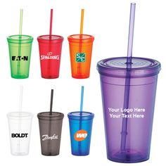 """16 Oz Customized Double Wall Iceberg Tumblers with Straws: Available Colors: Clear, Translucent Blue, Translucent Lime Green, Translucent Orange, Translucent Purple, Translucent Red, Translucent Smoke Product Size: 5.5"""" H Imprint Area: 2.25"""" H x 2.38"""" W Product Weight: 13 lbs. #customtumbler #promotionalproduct #freesetup"""