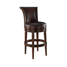 """Xander 24"""" Mocha Top Grain Leather Swivel Counter Stool ($400) ❤ liked on Polyvore featuring home, furniture, stools, barstools, light brown stool, counter height swivel stools, swivel counter stools, spinning stool and swivel bar stools"""