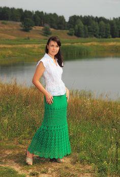 crochelinhasagulhas: Saia verde em crochê