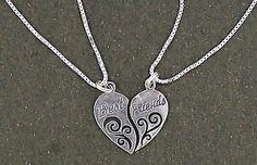 "Best Friends Heart Pendant Necklace Sterling Silver 18"" Chains 2 piece set"