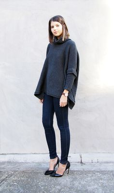 Gasparre cashmere poncho, Nobody denim jeans, Mode Collective Pumps