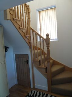 Stunning Space Saving Staircase Design : Amazing Furniture And Accessories Beautiful Elegant Space Saver Hemlock Double Winder Staircase Design Cool Space Saver Staircase Design Ideas Staircase Spindles, Loft Staircase, Wood Handrail, Staircase Design, Stair Design, Attic Stairs, Space Saver Staircase, Winder Stairs, Types Of Stairs