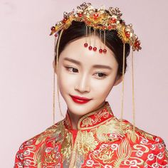 Bridal-Chinese-gold-tone-red-pink-dangle-flower-Hair-comb-Phoenix-Crown-RB689