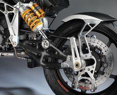 The front carbon fiber swing-arm. Bimota showcase their radical mono shock system with tesi 3D raceface at EICMA 2015