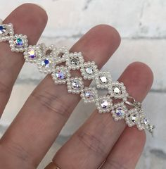 Excited to share this item from my shop: Swarovski Beaded Bracelet Seed Bead Bracelets, Seed Bead Earrings, Crystal Bracelets, Beaded Earrings, Beaded Jewellery, Jewellery Making, Handmade Christmas, Christmas Gifts, Beads Direct