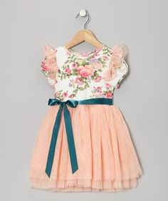 Take a look at this Cantaloupe Floral Tulle Dress - Toddler & Girls on zulily today!