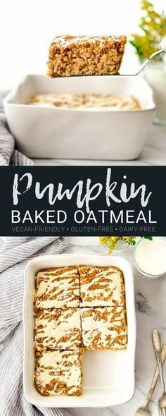 This Pumpkin Baked Oatmeal with a Maple Cinnamon Cream Cheese Glaze is the perfect healthy fall breakfast recipe. Loaded with protein, fiber and nutrients it's gluten-free, has no refined sugar and can be dairy-free & vegan-friendly! via JoyFoodSunshine Baked Oatmeal Recipes, Healthy Baked Oatmeal, Baked Pumpkin Oatmeal, Baked Oatmeal Bars, Pumpkin Spice, Oatmeal Bread, Cinnamon Oatmeal, Vegan Pumpkin, Fall Breakfast