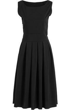 Black Square Neck Sleeveless Pleated Dress 14.08