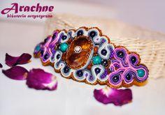 Biżuteria/bransoleta 'orientalna', wykonana metodą sutache, z kamieniami półszlachetnymi i koralikami. (dostępna)