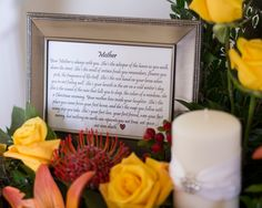 Door County wedding, mother memorial rememberance. Flowers by Sturgeon Bay Florist. Photo by Avenson Photography.