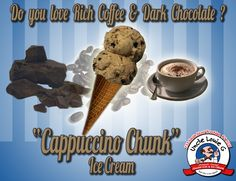 Do you love rich coffee and dark chocolate!? Try our Cappuccino Chunk Ice Cream today!
