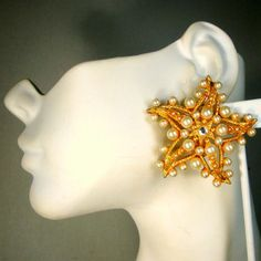 Giant Starfish Clip Earrings 1960s Signed by VintageStarrBeads