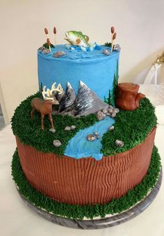 Hunting and fishing birthday cake