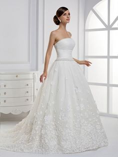 Strapless Ball Gown Net wedding dress