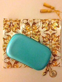 Anna Dello Russo for H Blue Gold Clutch Bag New Sold Out | eBay