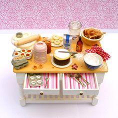 Christmas Preparation Table  - Dollhouse Miniature Accessories Handmade. $80.00, via Etsy.