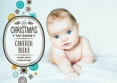 Our Christmas Wish: Boy - Winter Boy Birth Announcements - Hello Little One in Enchanted Green