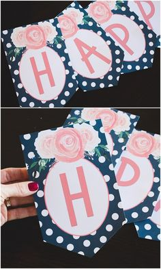 Free Printable Birthday Banner | Birthday Banner Letters | Happy Birthday | DIY Banner | Free Printable | Printable Alphabet | Alphabet Banner Free Printable | Download this printable birthday banner (+ entire alphabet!) to DIY a banner for your next event! {On the Six Clever Sisters blog}