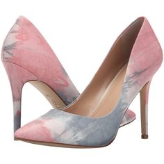 Charles by Charles David Pact (Pink Tie-Dye) High Heels ($60) ❤ liked on Polyvore featuring shoes, pink, glitter high heel shoes, high heel shoes, synthetic leather shoes, tie-dye shoes and leather slip on shoes