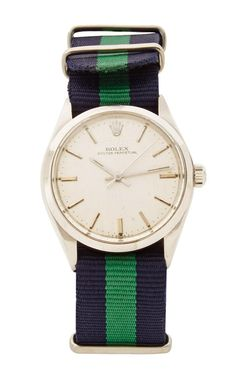 Vintage Rolex Oyster Perpetual With Blue And Green Striped Nato by CMT Fine Watch and Jewelry Advisors - Moda Operandi