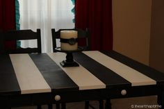 DIY Black and White striped table #home