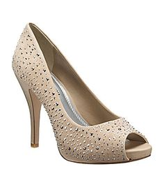"""Gianni Bini """"Marilyn"""" Pumps - by far the best shoes I own. Bedazzled Shoes, Prom Shoes, Wedding Shoes Bride, Nude Shoes, Evening Shoes, Gianni Bini, Peep Toe Pumps, Shoe Collection, Me Too Shoes"""