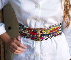 Ankara Belt Ankara Wide Waist Belt tie belt by ETurnerCouture African Attire, African Wear, African Women, African Dress, African Accessories, African Jewelry, African Print Fashion, Fashion Prints, Diy Fashion