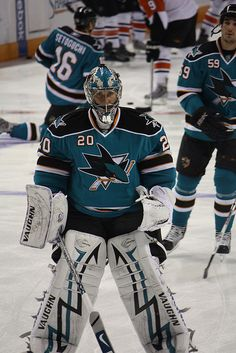 Upload from the October Sharks/Flyers game. I know the background's a bit busy, but it's a sporting event, you know? Ice Hockey Teams, Hockey Goalie, Sports Teams, San Jose Sharks, Oakland Raiders Logo, Sports Images, Sports Art, Olympic Games Sports, Goalie Mask