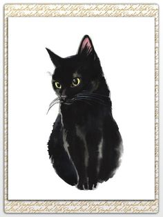 Black Cat Art Cat Watercolor Print Crazy Cat Lady My Cats Are Print Watercolor Kid Wall Cat Painting