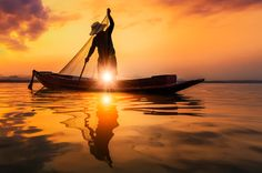 Fisherman of Bangpra Lake in action when fishing, Thailand by weerasaksaeku on 500px