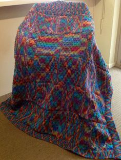 Jazzy Autumn on Blue Handmade Knitted Squares Blanket on Etsy, $35.00 AUD