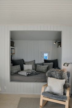 Reading nook for the master bed room. I would love a window behind it. Interior Design, House Interior, Home, Small Spaces, House, Room, Interior, Furniture, Sleeping Nook