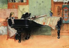 """Art by Carl Larsson (c 1917) - """"Suzanne At The Piano."""""""