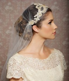 Juliet Cap Veil, Gold Lace Veil, Lace Bridal Cap, Tulle Veil, Gold Juliet Veil, Floral Art Deco - Made to Order - ODETTE. $156.00, via Etsy.