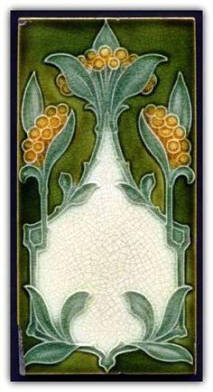 Rare and Stylish 3x6 Art Nouveau Majolica Tile Pilkington.