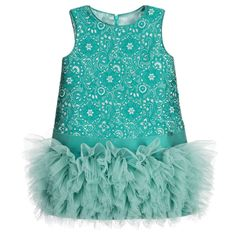 ValMax Green & Silver Floral Jacquard Dress with Tulle Skirt at Childrensalon.com