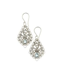 Another great find on #zulily! Blue Topaz & Sterling Silver Filigree Drop Earrings #zulilyfinds