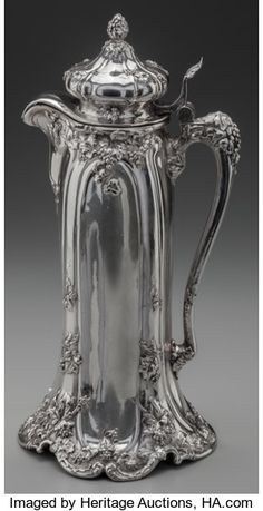 A Reed & Barton Silver Lidded Ewer, Taunton, Massachusetts, circa Marks: (eagle-R-lion), Sterling. Silver Trays, Silver Plate, Bronze, Vintage Silver, Antique Silver, Argent Antique, Silver Teapot, Reed & Barton, Silver Work