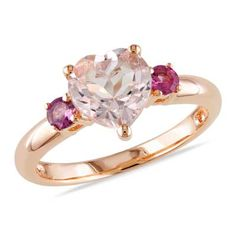 Miadora Rose-plated Silver Heart-cut Morganite and Pink Tourmaline Ring - Overstock™ Shopping - Top Rated Miadora Gemstone Rings Pretty Rings, Rings Cool, Beautiful Rings, Rose Gold Jewelry, Sterling Silver Jewelry, Diamond Jewelry, Silver Ring, Colar Disney, Pink Tourmaline Ring