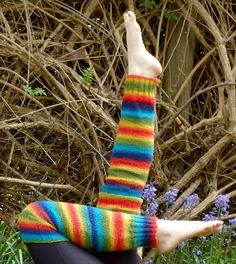 Free Knitting Pattern for Rainbow Legwarmers - These leg warmers were designed with self-striping yarn. Designed by Aniko Heart
