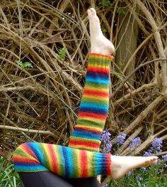 Free Knitting Pattern for Rainbow Legwarmers - These leg warmers were designed with self-striping yarn. Designed byAniko Heart
