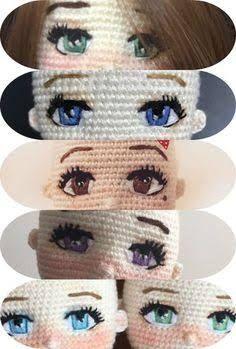 Resultado de imagem para como fazer olho de boneca em croche #crochetdolls