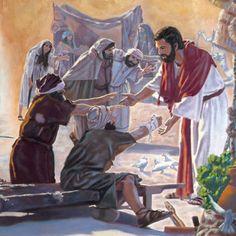 Jesús extendiendo la mano para sanar a unos enfermos