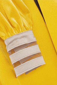 Belted Crepe De Chine Midi Dress - Yellow Fendi NZagi
