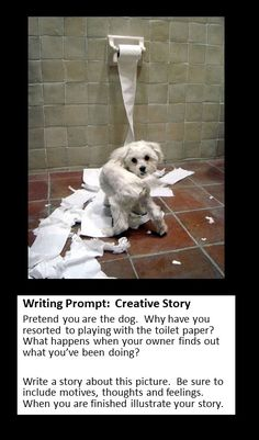 writing Prompt: Creative Story, use a specific picture to have students analyze reflect and elaborate on by creating their own storyline to the picture. Fun way to make writing interesting as it relates to their own interpretation and design!