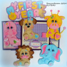 ELITE4U PREMADE TEAR BEAR PAPER PIECING SCRAPBOOK ALBUM PAGE 18 PIECES ROXCRAFTS